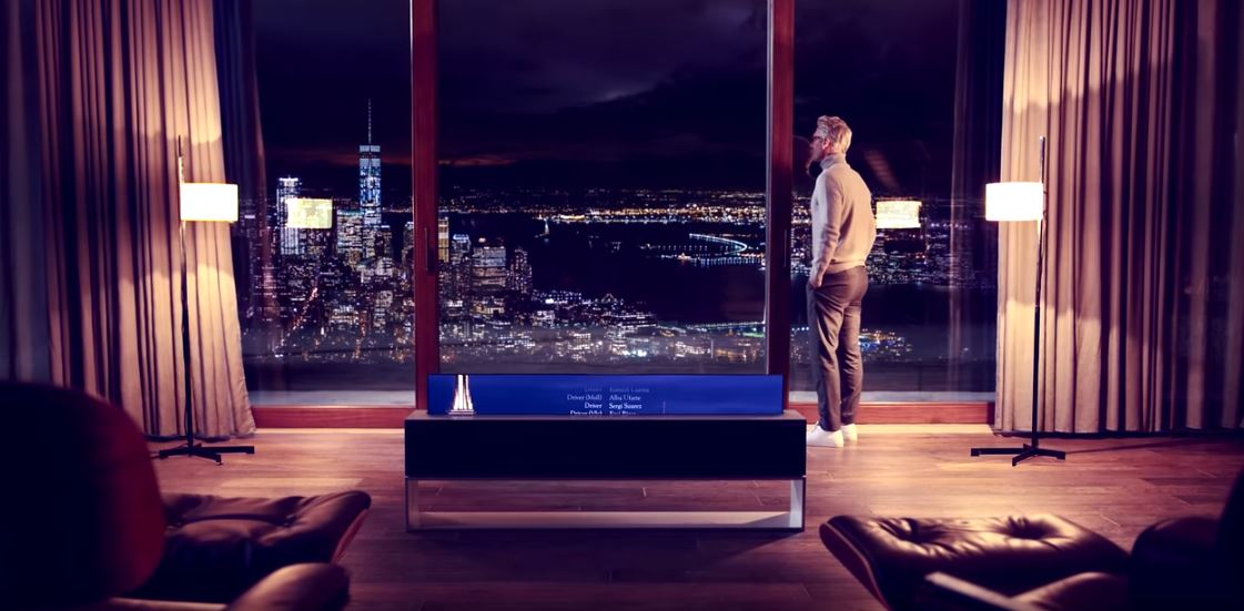 LG SIGNATURE OLED TV R - Lifestyle with Rollable OLED TV